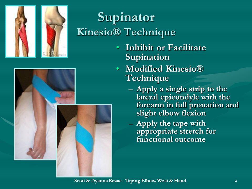 Scott & Dyanna Rezac - Taping Elbow, Wrist & Hand 4 Supinator Kinesio® Technique Inhibit or Facilitate SupinationInhibit or Facilitate Supination Modi