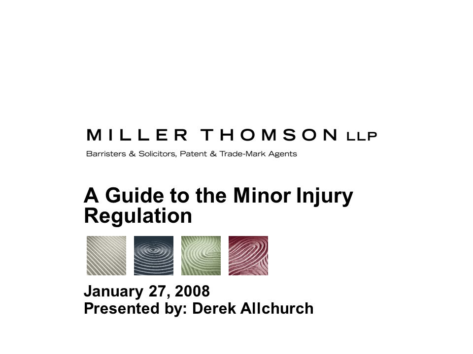 A Guide to the Minor Injury Regulation January 27, 2008 Presented by: Derek Allchurch