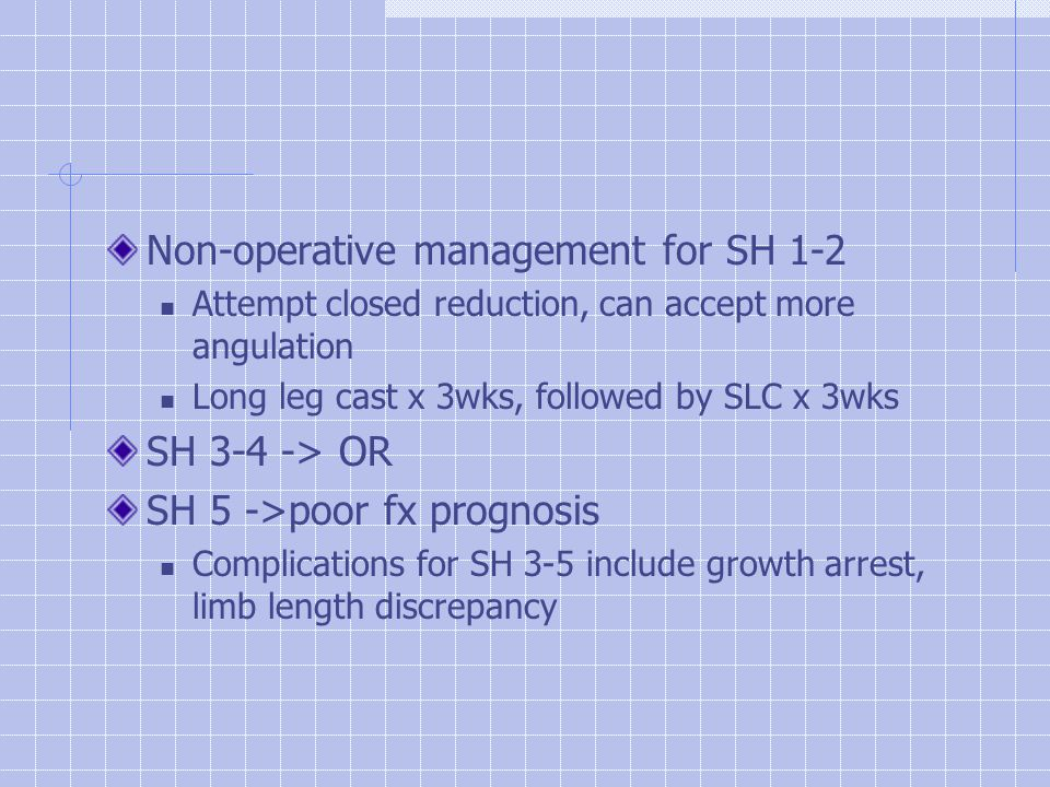 Non-operative management for SH 1-2 Attempt closed reduction, can accept more angulation Long leg cast x 3wks, followed by SLC x 3wks SH 3-4 -> OR SH 5 ->poor fx prognosis Complications for SH 3-5 include growth arrest, limb length discrepancy