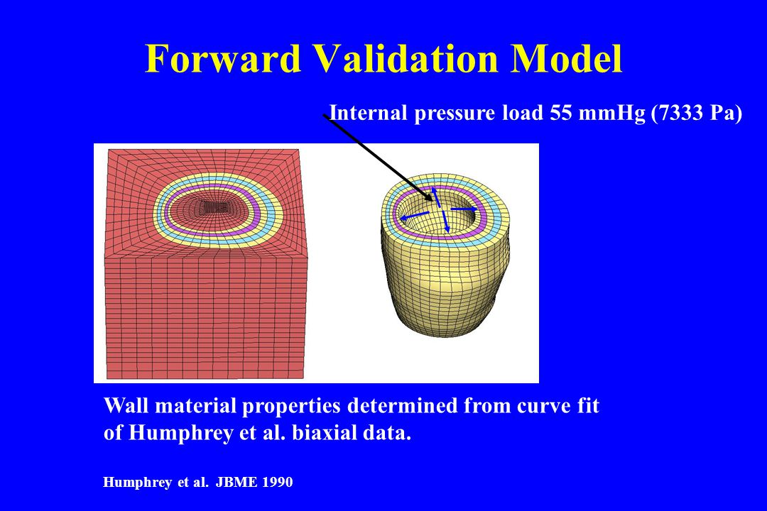 Forward Validation Model Wall material properties determined from curve fit of Humphrey et al.