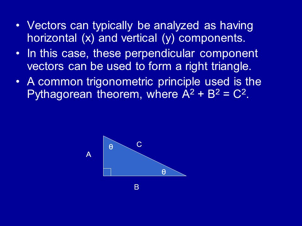 Vectors can typically be analyzed as having horizontal (x) and vertical (y) components. In this case, these perpendicular component vectors can be use