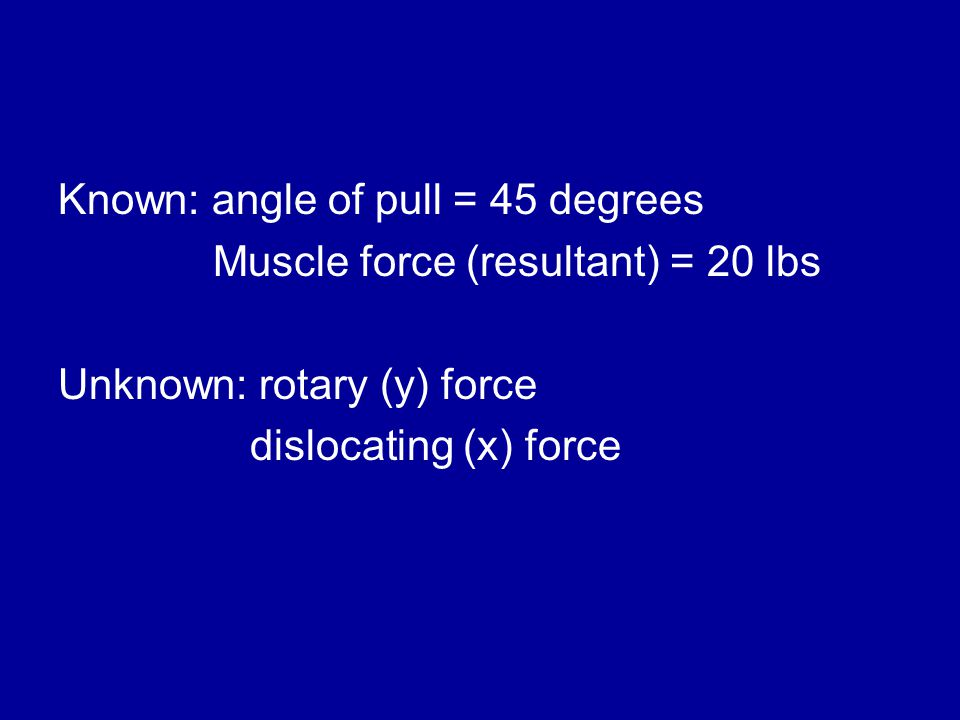 Known: angle of pull = 45 degrees Muscle force (resultant) = 20 lbs Unknown: rotary (y) force dislocating (x) force