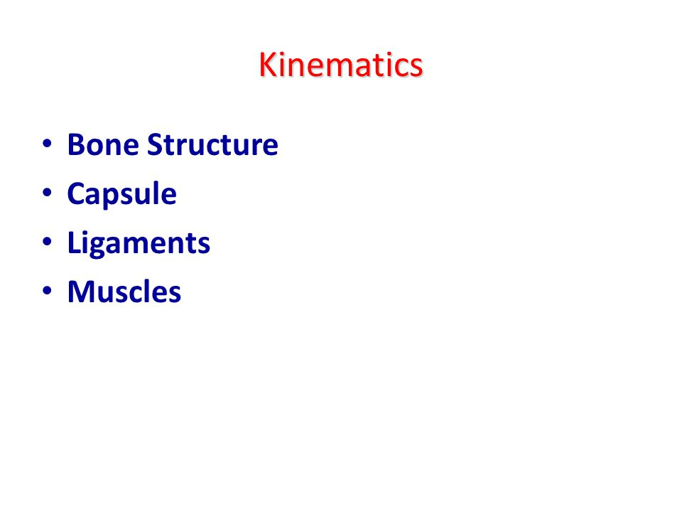 Kinematics Bone Structure Capsule Ligaments Muscles