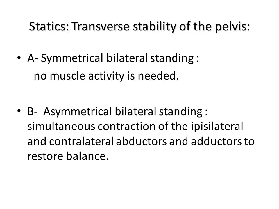Statics: Transverse stability of the pelvis: A- Symmetrical bilateral standing : no muscle activity is needed. B- Asymmetrical bilateral standing : si
