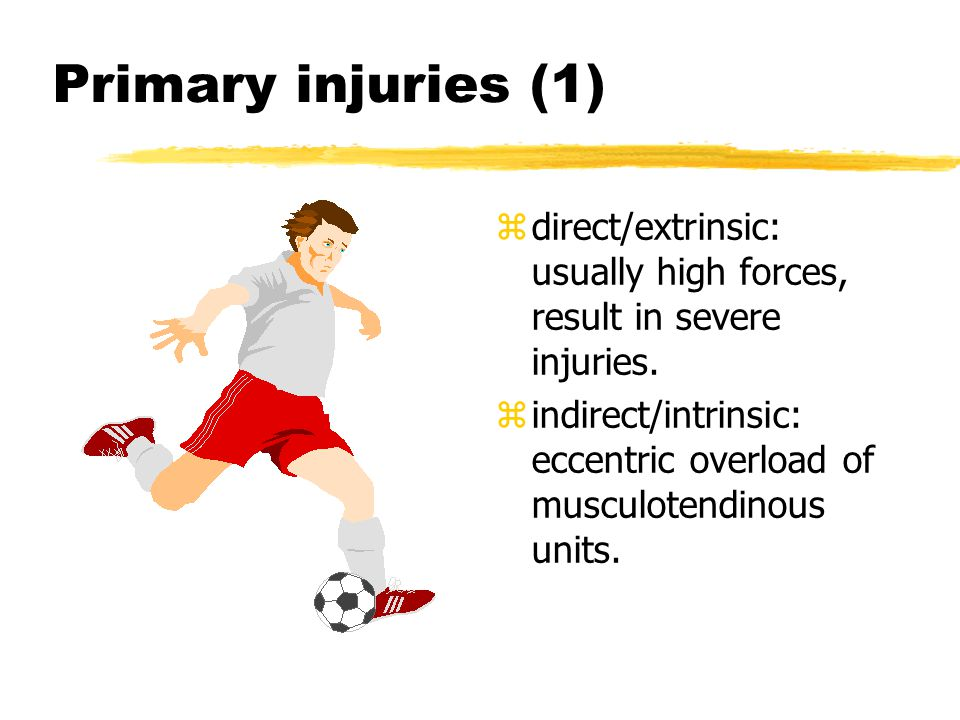 Primary injuries (2) z Overuse injury: repetitive friction leads to tenosynovitis.
