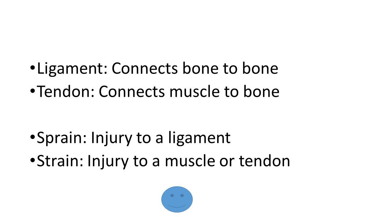 Ligament: Connects bone to bone Tendon: Connects muscle to bone Sprain: Injury to a ligament Strain: Injury to a muscle or tendon