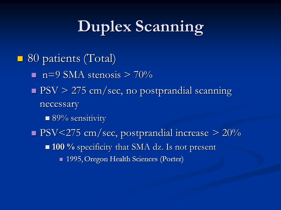 Duplex Scanning 80 patients (Total) 80 patients (Total) n=9 SMA stenosis > 70% n=9 SMA stenosis > 70% PSV > 275 cm/sec, no postprandial scanning neces