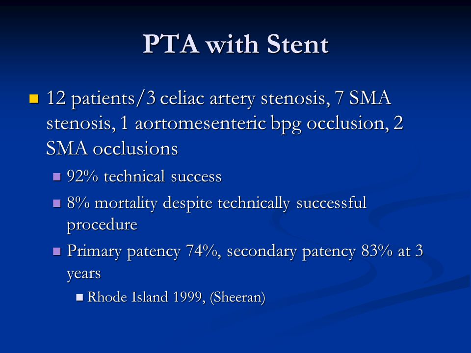PTA with Stent 12 patients/3 celiac artery stenosis, 7 SMA stenosis, 1 aortomesenteric bpg occlusion, 2 SMA occlusions 12 patients/3 celiac artery ste