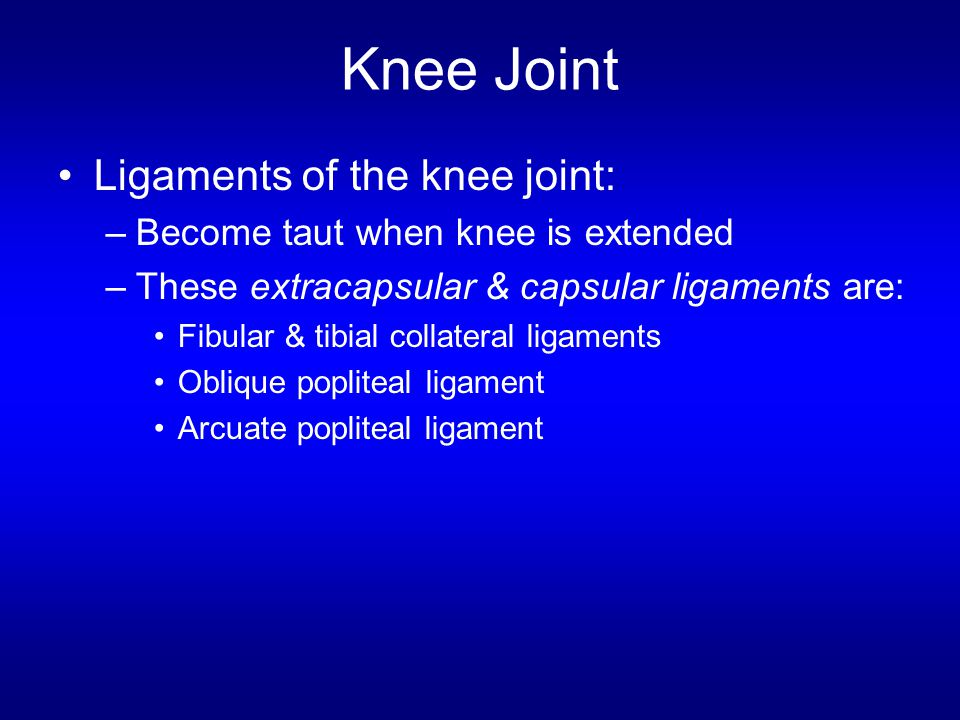 Knee Joint Ligaments of the knee joint: –Become taut when knee is extended –These extracapsular & capsular ligaments are: Fibular & tibial collateral ligaments Oblique popliteal ligament Arcuate popliteal ligament