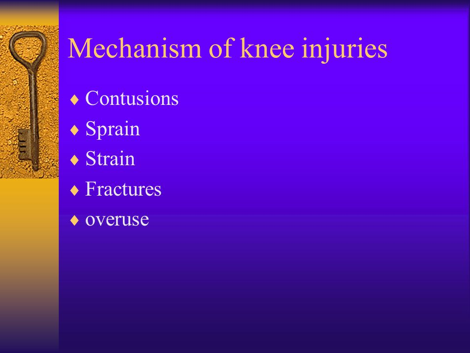 Mechanism of knee injuries  Contusions  Sprain  Strain  Fractures  overuse