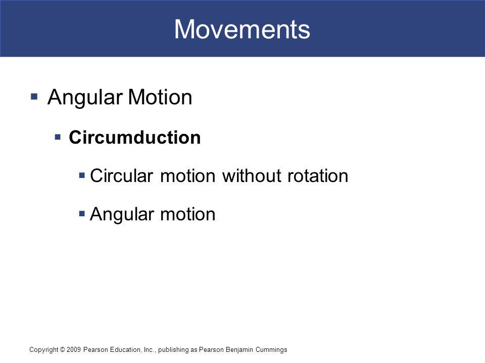 Copyright © 2009 Pearson Education, Inc., publishing as Pearson Benjamin Cummings Movements  Angular Motion  Circumduction  Circular motion without