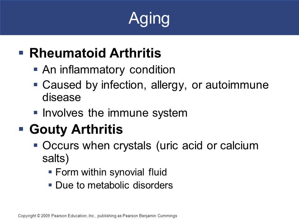 Copyright © 2009 Pearson Education, Inc., publishing as Pearson Benjamin Cummings Aging  Rheumatoid Arthritis  An inflammatory condition  Caused by