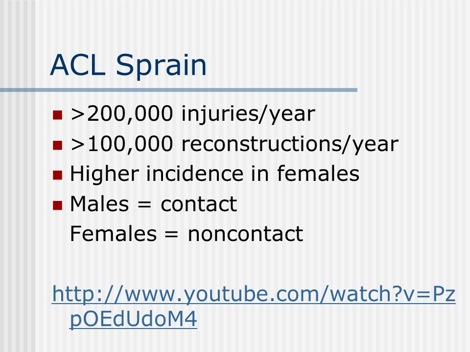 ACL Sprain >200,000 injuries/year >100,000 reconstructions/year Higher incidence in females Males = contact Females = noncontact http://www.youtube.co