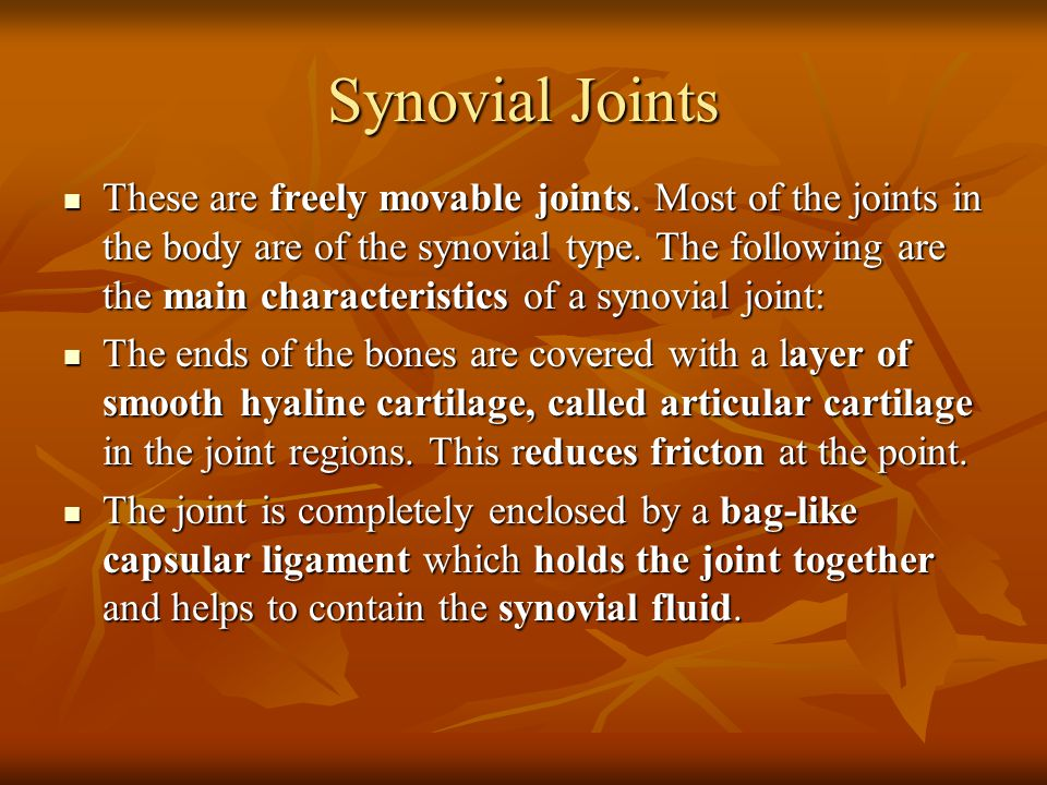 Synovial Joints (cont) The capsular ligament is lined with a synovial membrane.
