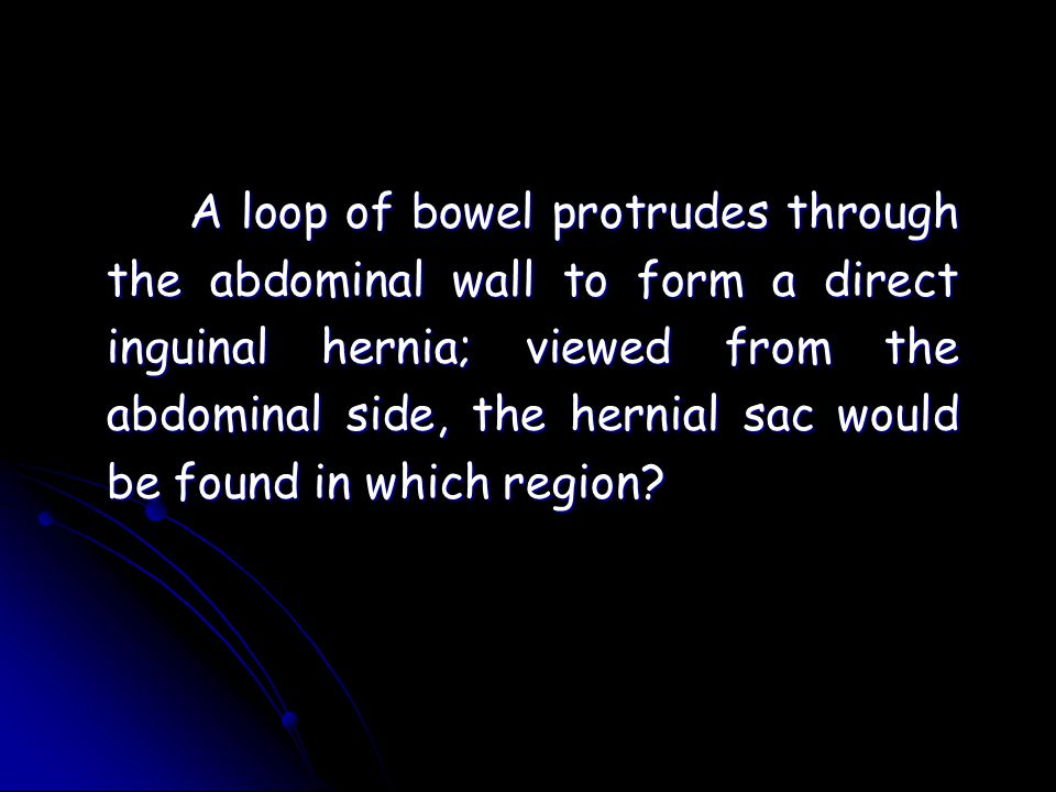 A loop of bowel protrudes through the abdominal wall to form a direct inguinal hernia; viewed from the abdominal side, the hernial sac would be found in which region?