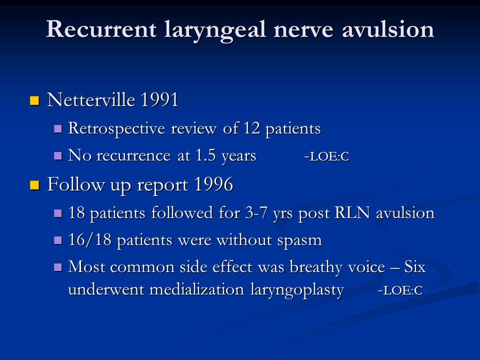 Recurrent laryngeal nerve avulsion Netterville 1991 Netterville 1991 Retrospective review of 12 patients Retrospective review of 12 patients No recurrence at 1.5 years - LOE:C No recurrence at 1.5 years - LOE:C Follow up report 1996 Follow up report 1996 18 patients followed for 3-7 yrs post RLN avulsion 18 patients followed for 3-7 yrs post RLN avulsion 16/18 patients were without spasm 16/18 patients were without spasm Most common side effect was breathy voice – Six underwent medialization laryngoplasty - LOE:C Most common side effect was breathy voice – Six underwent medialization laryngoplasty - LOE:C