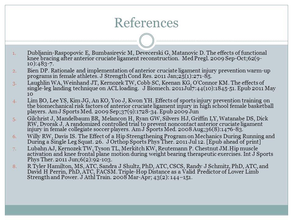 References 1. Dubljanin-Raspopovic E, Bumbasirevic M, Devecerski G, Matanovic D. The effects of functional knee bracing after anterior cruciate ligame