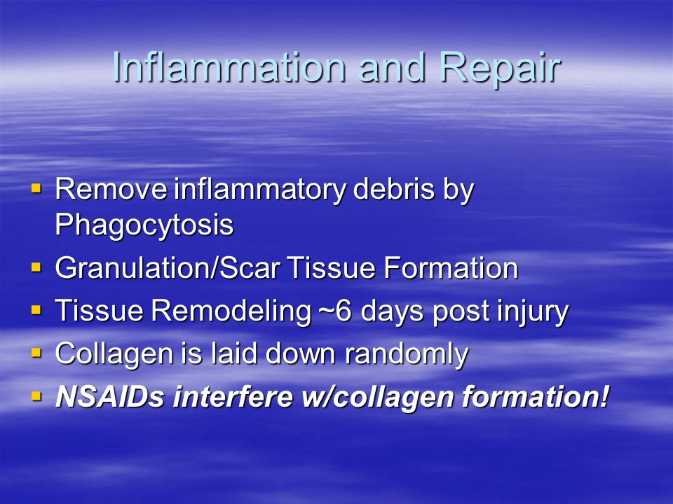 Inflammation and Repair  Remove inflammatory debris by Phagocytosis  Granulation/Scar Tissue Formation  Tissue Remodeling ~6 days post injury  Collagen is laid down randomly  NSAIDs interfere w/collagen formation!