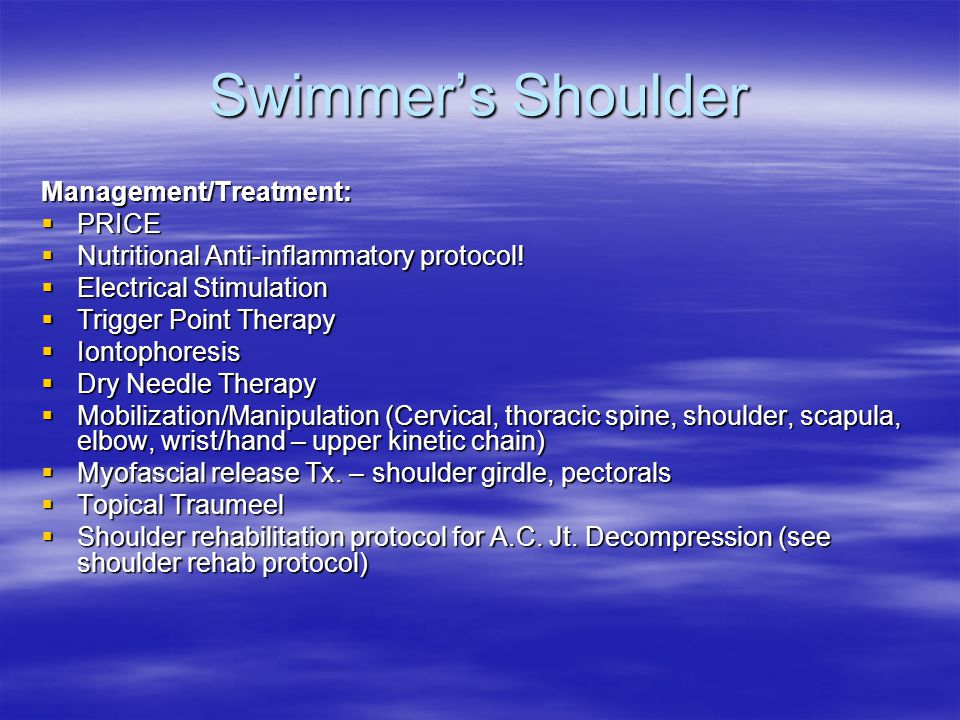 Swimmer's Shoulder Management/Treatment:  PRICE  Nutritional Anti-inflammatory protocol.
