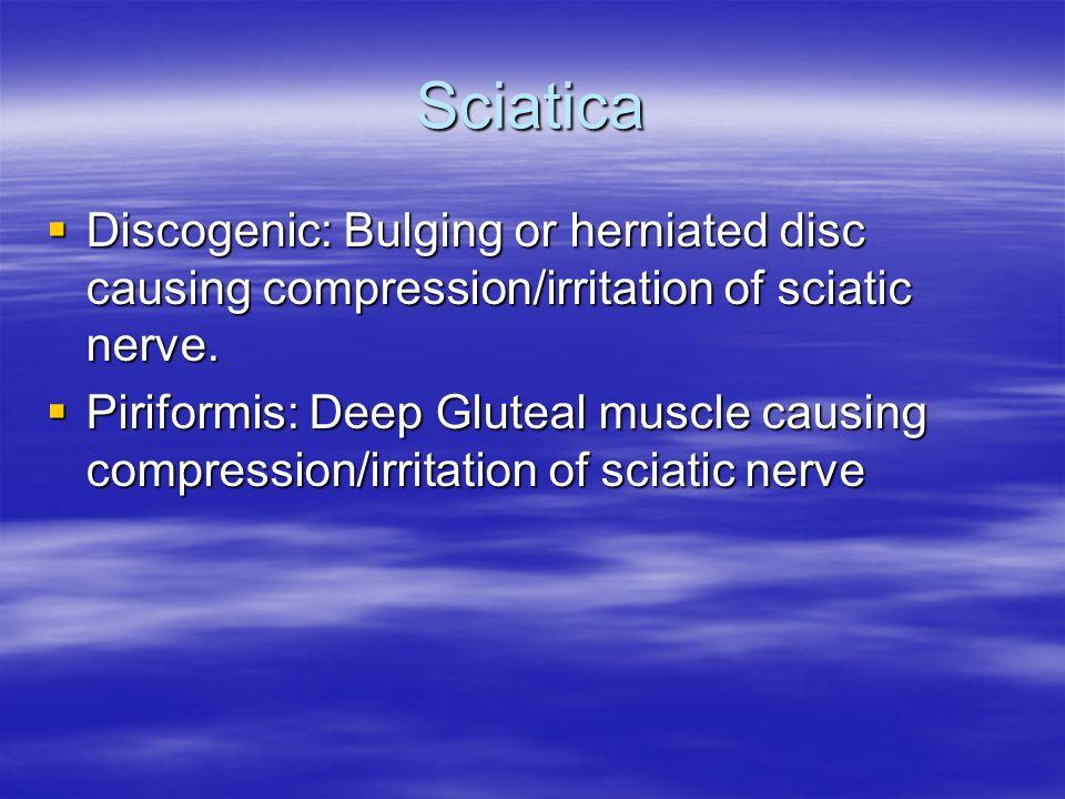 Sciatica  Discogenic: Bulging or herniated disc causing compression/irritation of sciatic nerve.