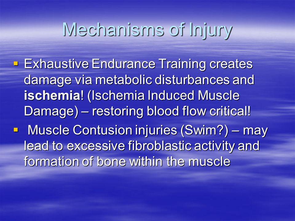 Mechanisms of Injury  Exhaustive Endurance Training creates damage via metabolic disturbances and ischemia.