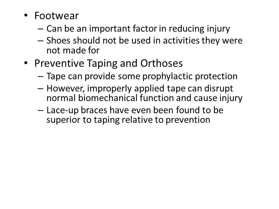 Achilles Tendon Rupture (continued) – Management Usual management involves surgical repair for serious injuries (return of 75-80% of function) Non-operative treatment consists of RICE, NSAID's, analgesics, and a non-weight bearing cast for 6 weeks, followed up by a walking cast for 2 weeks (75-90% return to normal function) Rehabilitation lasts about 6 months and consists of ROM, PRE and wearing a 2cm heel lift in both shoes