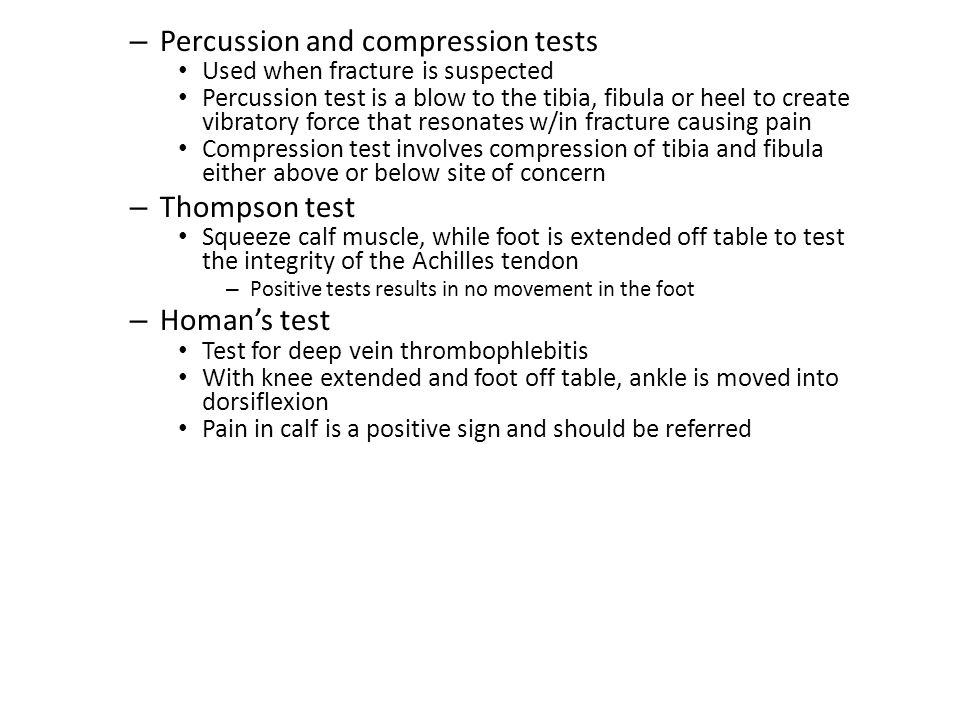 Shin Splints (continued) – Signs and Symptoms Four grades of pain – Pain after activity – Pain before and after activity and not affecting performance – Pain before, during and after activity, affecting performance – Pain so severe, performance is impossible – Management Physician referral for X-rays and bone scan Activity modification Correction of abnormal biomechanics Ice massage to reduce pain and inflammation Flexibility program for gastroc-soleus complex Arch taping and or orthotics