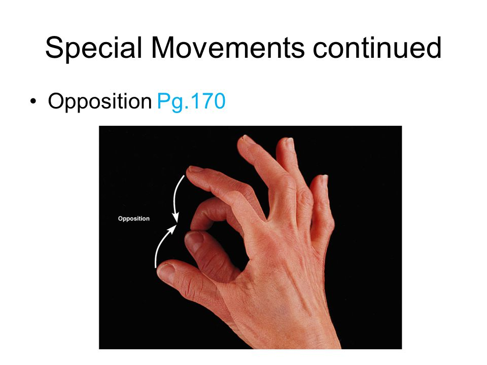 Special Movements continued Opposition Pg.170