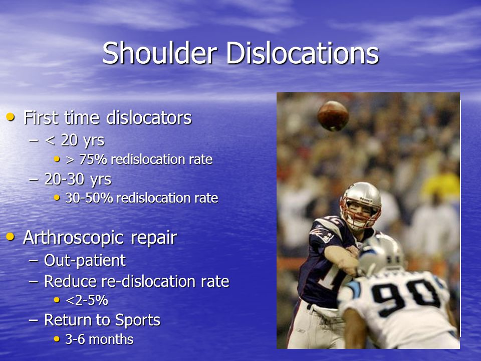 Shoulder Dislocations First time dislocators First time dislocators –< 20 yrs > 75% redislocation rate > 75% redislocation rate –20-30 yrs 30-50% redislocation rate 30-50% redislocation rate Arthroscopic repair Arthroscopic repair –Out-patient –Reduce re-dislocation rate <2-5% <2-5% –Return to Sports 3-6 months 3-6 months
