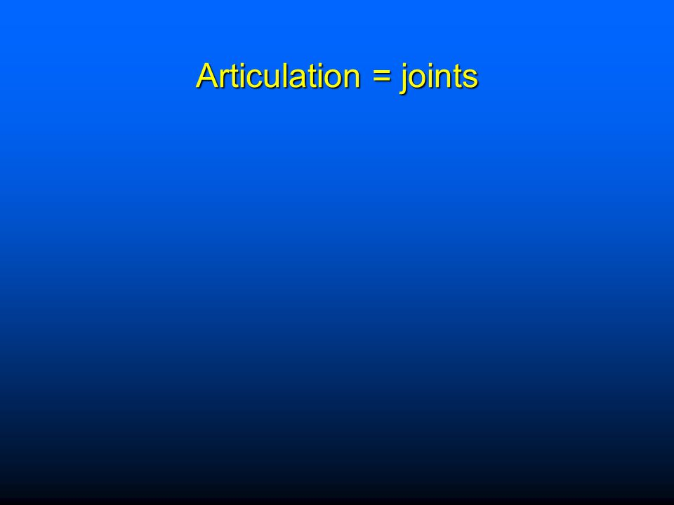 Classification of Joints Structural - named according to presence of fluid filled joint capsule or type of connective tissue Structural - named according to presence of fluid filled joint capsule or type of connective tissue Functional - named according to degree of movement allowed Functional - named according to degree of movement allowed  Synarthroses—immovable joint  Amphiarthroses—slightly movable  Diarthroses—freely movable (synovial joints)