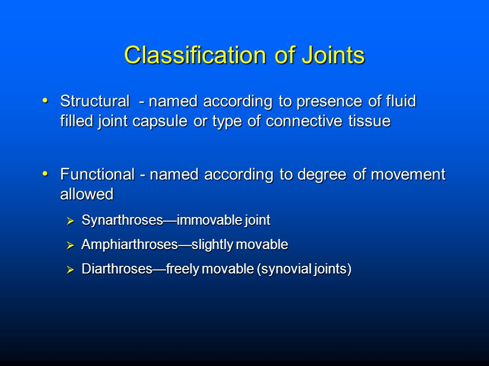 Fibrous joints - synarthroses - bones fit together closely Syndesmoses - joints in which ligaments connect 2 bones Syndesmoses - joints in which ligaments connect 2 bones Sutures - found in skull Sutures - found in skull Gomphoses - between root of tooth and mandible or maxilla Gomphoses - between root of tooth and mandible or maxilla