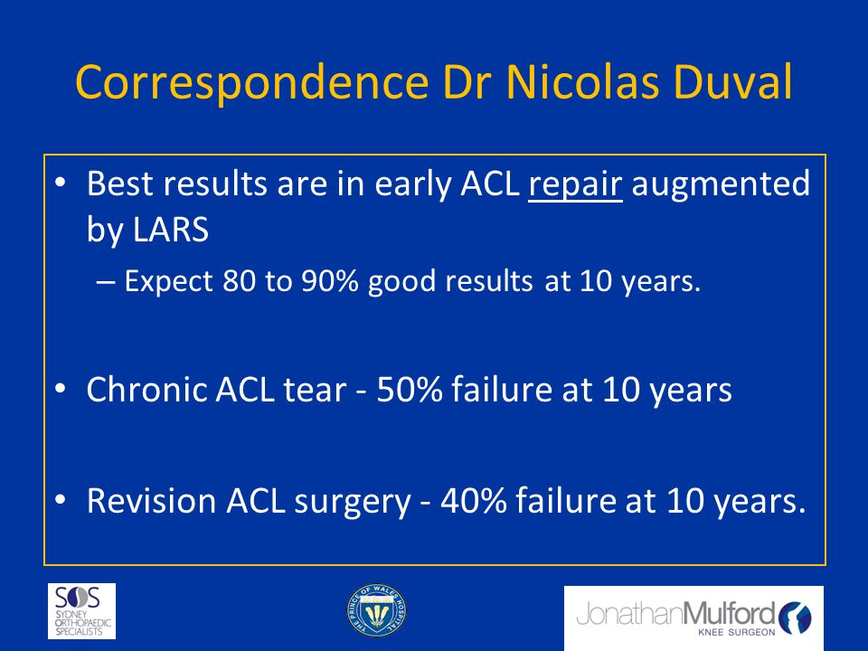 Correspondence Dr Nicolas Duval Best results are in early ACL repair augmented by LARS – Expect 80 to 90% good results at 10 years. Chronic ACL tear -