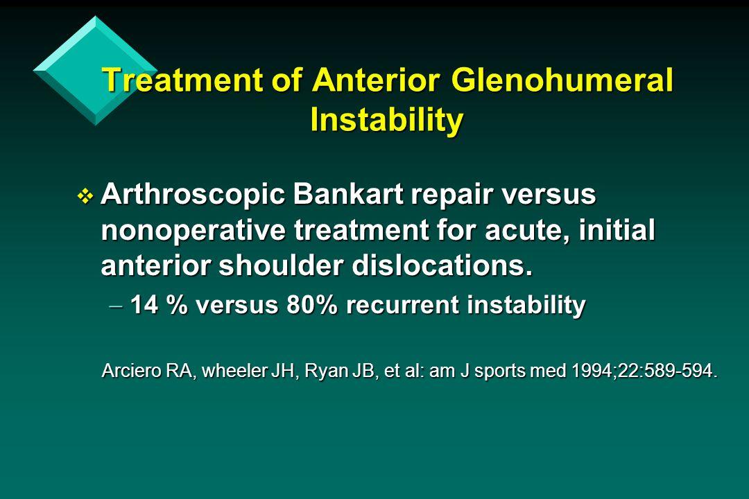 Treatment of Anterior Glenohumeral Instability  Arthroscopic Bankart repair versus nonoperative treatment for acute, initial anterior shoulder disloc