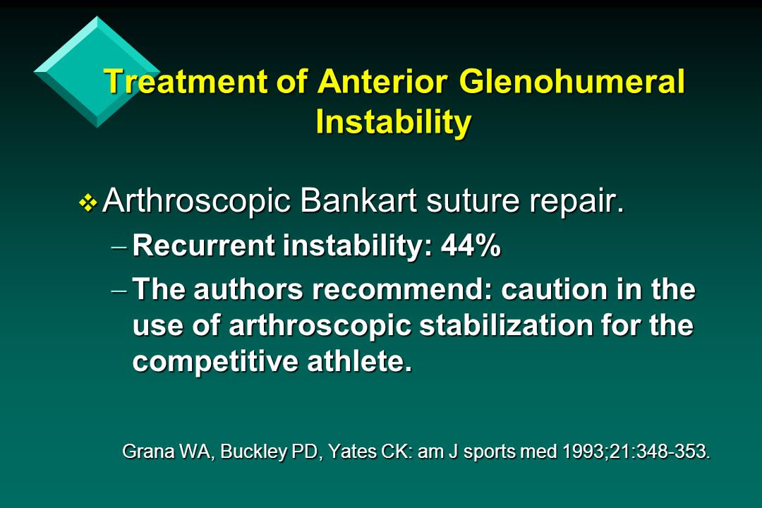 Treatment of Anterior Glenohumeral Instability  Arthroscopic Bankart suture repair.  Recurrent instability: 44%  The authors recommend: caution in