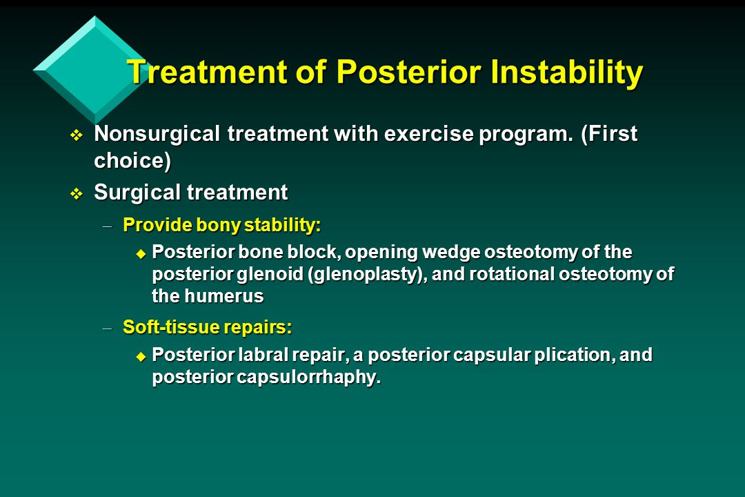 Treatment of Posterior Instability  Nonsurgical treatment with exercise program. (First choice)  Surgical treatment  Provide bony stability: u Post