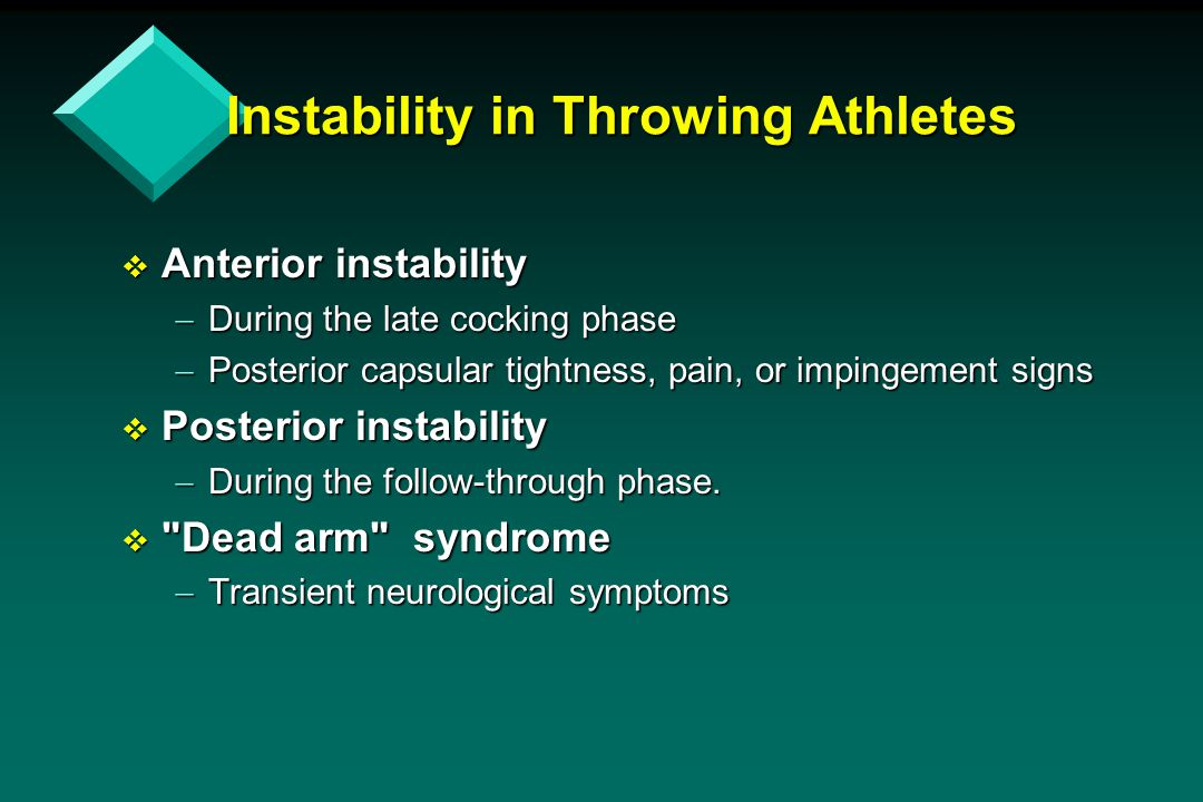 Instability in Throwing Athletes  Anterior instability  During the late cocking phase  Posterior capsular tightness, pain, or impingement signs  P