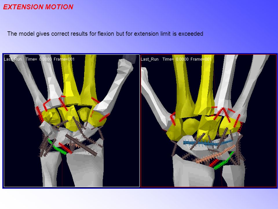 EXTENSION MOTION The model gives correct results for flexion but for extension limit is exceeded