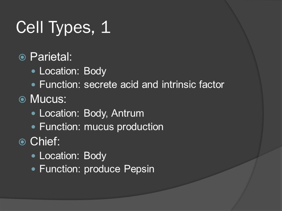 Cell Types, 1  Parietal: Location: Body Function: secrete acid and intrinsic factor  Mucus: Location: Body, Antrum Function: mucus production  Chie