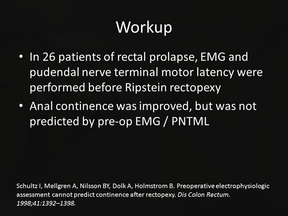 Workup In 26 patients of rectal prolapse, EMG and pudendal nerve terminal motor latency were performed before Ripstein rectopexy Anal continence was i