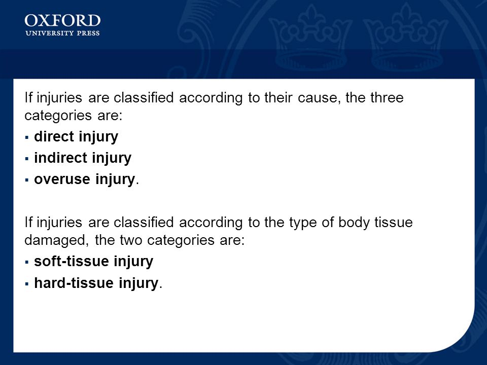 If injuries are classified according to their cause, the three categories are:  direct injury  indirect injury  overuse injury.
