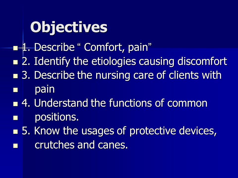 Objectives 1. Describe Comfort, pain 1. Describe Comfort, pain 2.