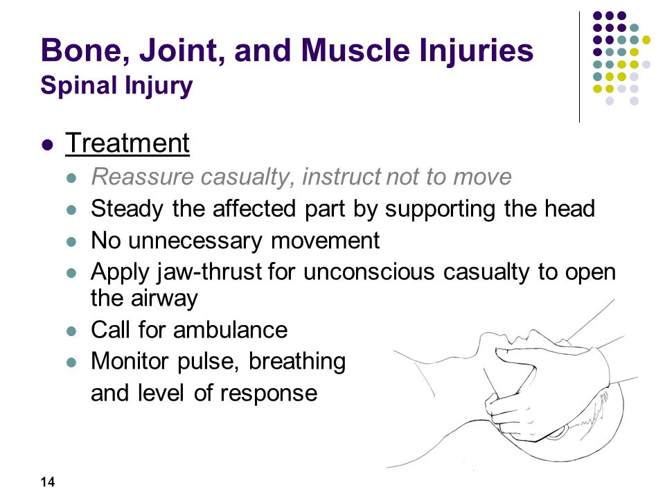 14 Bone, Joint, and Muscle Injuries Spinal Injury Treatment Reassure casualty, instruct not to move Steady the affected part by supporting the head No