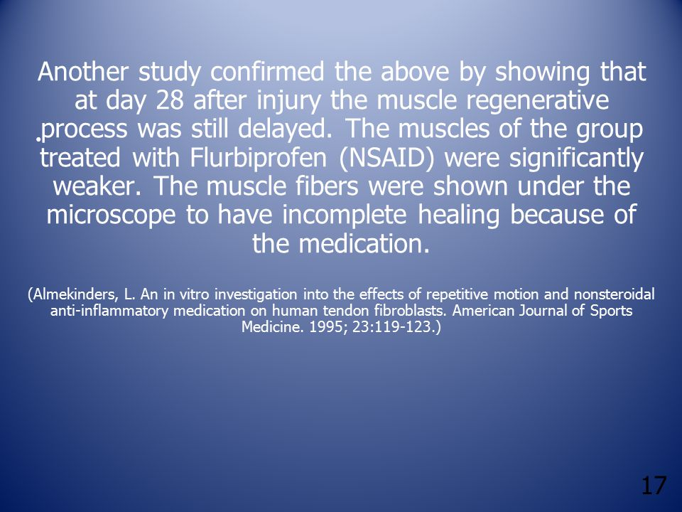 17 Another study confirmed the above by showing that at day 28 after injury the muscle regenerative process was still delayed. The muscles of the grou