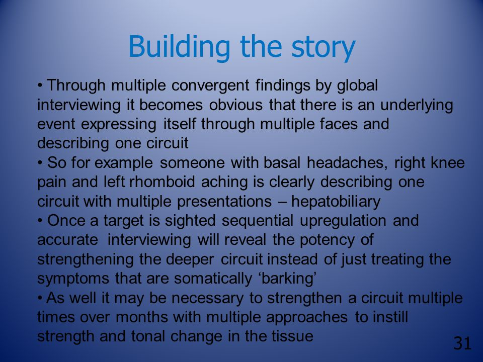 31 Building the story Through multiple convergent findings by global interviewing it becomes obvious that there is an underlying event expressing itse