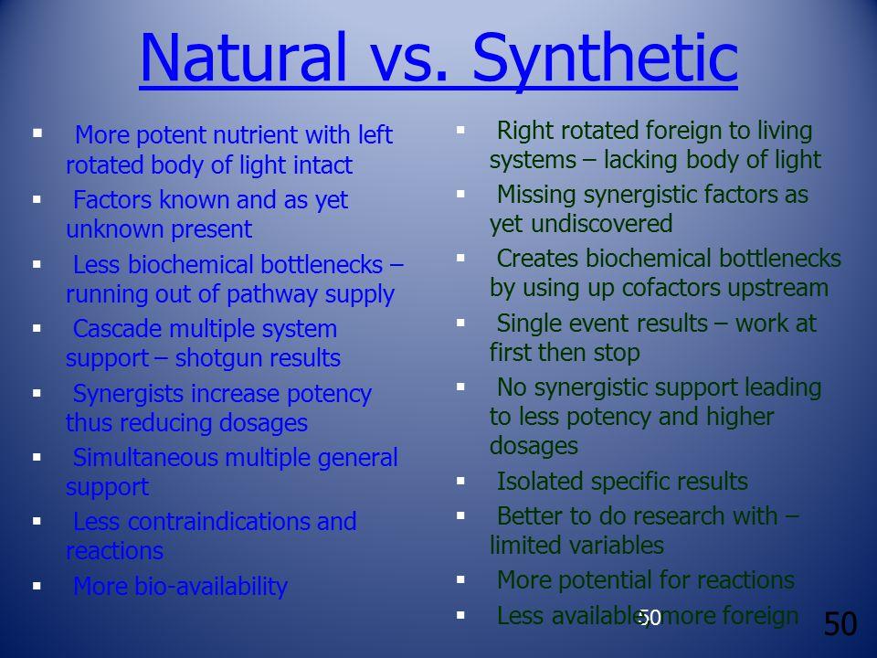 50 Natural vs.