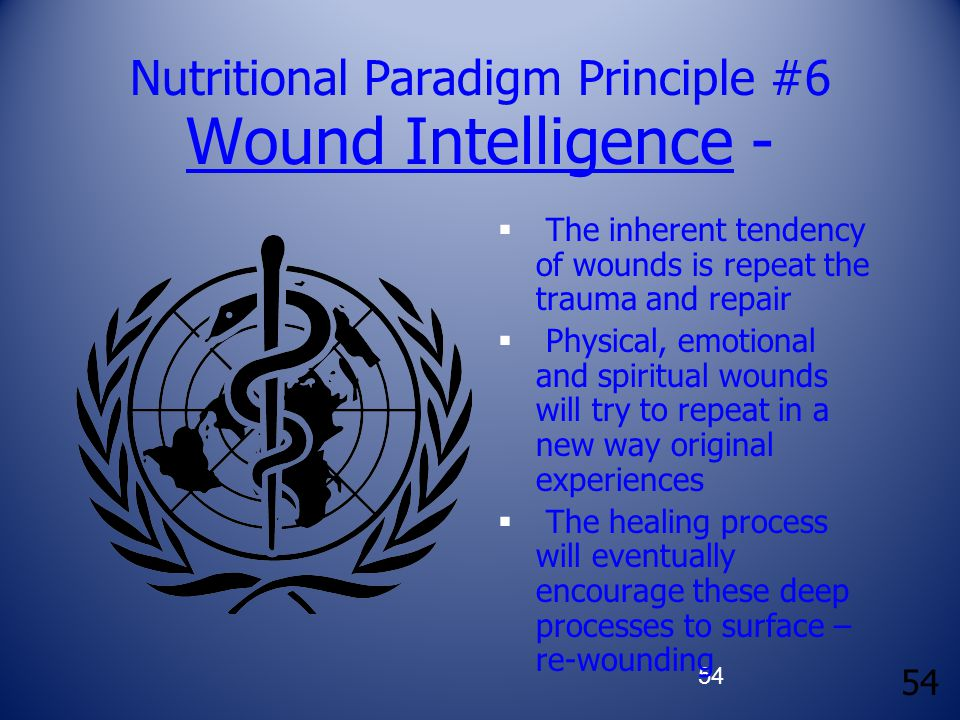 54 Nutritional Paradigm Principle #6 Wound Intelligence -  The inherent tendency of wounds is repeat the trauma and repair  Physical, emotional and spiritual wounds will try to repeat in a new way original experiences  The healing process will eventually encourage these deep processes to surface – re-wounding