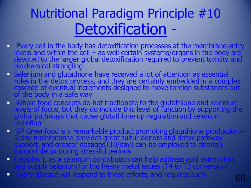 60 Nutritional Paradigm Principle #10 Detoxification -  Every cell in the body has detoxification processes at the membrane entry levels and within t