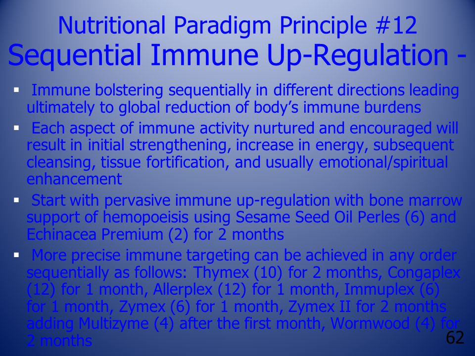 62 Nutritional Paradigm Principle #12 Sequential Immune Up-Regulation -  Immune bolstering sequentially in different directions leading ultimately to global reduction of body's immune burdens  Each aspect of immune activity nurtured and encouraged will result in initial strengthening, increase in energy, subsequent cleansing, tissue fortification, and usually emotional/spiritual enhancement  Start with pervasive immune up-regulation with bone marrow support of hemopoeisis using Sesame Seed Oil Perles (6) and Echinacea Premium (2) for 2 months  More precise immune targeting can be achieved in any order sequentially as follows: Thymex (10) for 2 months, Congaplex (12) for 1 month, Allerplex (12) for 1 month, Immuplex (6) for 1 month, Zymex (6) for 1 month, Zymex II for 2 months adding Multizyme (4) after the first month, Wormwood (4) for 2 months
