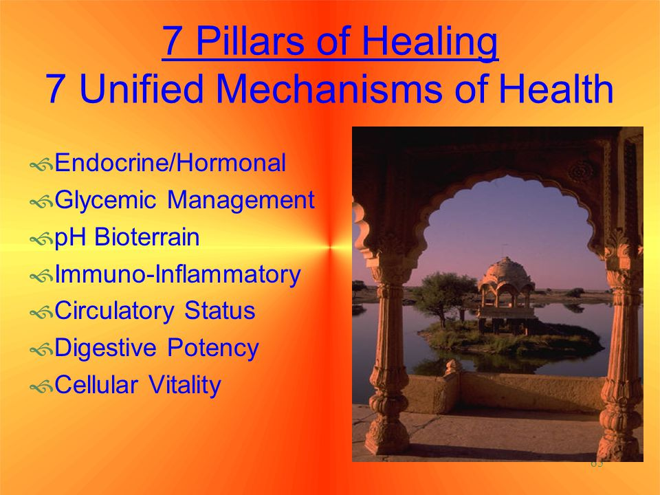 65 7 Pillars of Healing 7 Unified Mechanisms of Health  Endocrine/Hormonal  Glycemic Management  pH Bioterrain  Immuno-Inflammatory  Circulatory Status  Digestive Potency  Cellular Vitality