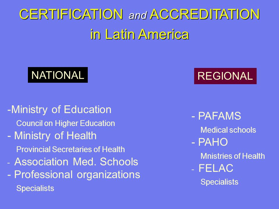 CERTIFICATION and ACCREDITATION in Latin America -Ministry of Education Council on Higher Education - Ministry of Health Provincial Secretaries of Health - Association Med.